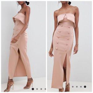 ASOS botton Tux bandeau maxi dress